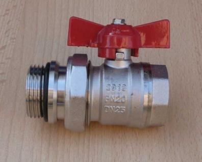 """Kugelhahn 1"""" AG/IG roter Griff mit Verschraubungsteil DN25 PN20 (8602#"""