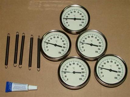 Anlegethermometer Set 5x Metallausführung Ø63mm -120°C + Wärmeleitpaste(5546# - Vorschau