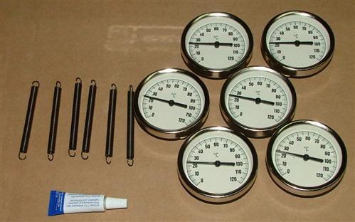 Anlegethermometer Set 6x Metallausführung Ø63mm -120°C + Wärmeleitpaste(5547#