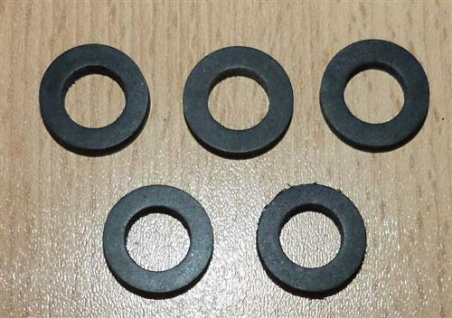 """Gummi-Dichtung f. ÜWM schwarz 10 x 18 x 3mm 1/2"""" 5 Stück (5876#"""