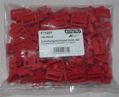 Entlüftungsschlüssel Simplex 5mm Kunststoff rot 100 Stück (7437# - Vorschau