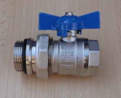 """Kugelhahn 1"""" AG/IG blauer Griff mit Verschraubungsteil DN25 PN20 (8603#"""