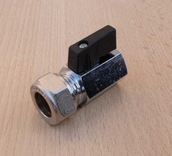 """Kugelhahn Mini 15 x 1/2"""" für Kupferrohr kurzer Griff (9058#"""
