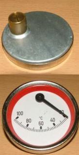 Anlegethermometer Ø 63mm exentrisch rot 20-100°C (377# - Vorschau