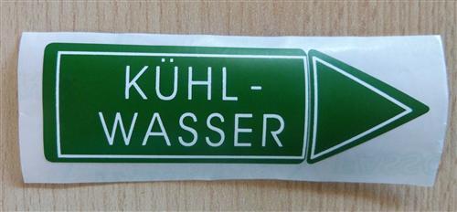 """Aufkleber """" KÜhlwasser """" Größe 94 X 30 Mm 1 Stück (7172# - Vorschau"""