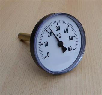 Bimetallthermometer Plast schwarz Ø80mm 40mm Tauchhülse 0-60°C (Auswahlmöglichkeiten)