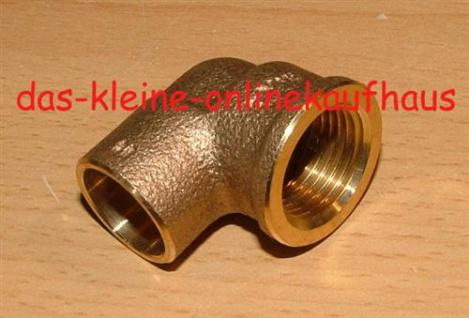 """Rotguss Lötfitting ÜG-Winkel 90° / I-IG / 15 mm x 1/2""""/ DVGW zugel. (Auswahlmöglichkeiten) - Vorschau"""