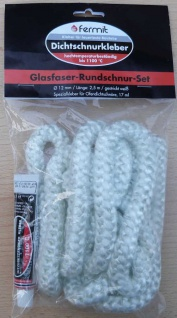 Glasfaser - Rundschnur - Set / Ø 12mm x 2, 5 m mit Spezialkleber (Auswahlmöglichkeiten)