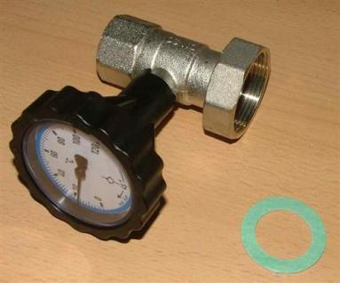 """Pumpenkugelhahn mit Thermometerhandrad blau 1"""" ohne Schwerkraftbremse (Auswahlmöglichkeiten)"""