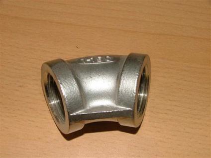 """Edelstahl - Fitting Winkel 45° (V2A) 3/8"""" IG (Auswahlmöglichkeiten) - Vorschau"""