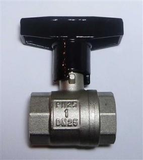 """Isolierkugelhahn ISO 1"""" DN 25 Alu- Griff schwarz und kurz (Auswahlmöglichkeiten)"""