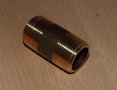"""Messing Doppelnippel AG/AG 1/2"""" x 40 mm (Auswahlmöglichkeiten)"""