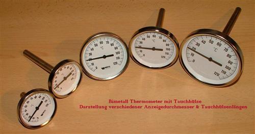 Bimetallthermometer Ø63mm 50mm Tauchhülse 0°-120°C (Auswahlmöglichkeiten) - Vorschau