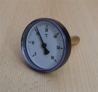 Bimetallthermometer Plast schwarz Ø63mm 40mm Tauchhülse 0-60°C (Auswahlmöglichkeiten)