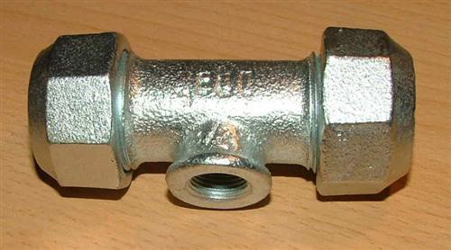 "Temperguss-Klemmverbinder T-Stück 3/8"" x17, 2mm IG (Auswahlmöglichkeiten)"