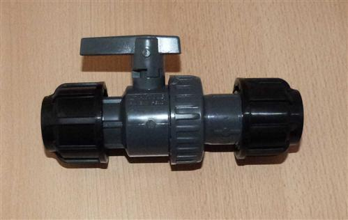 Plast Klemmverbinder PE Kugelhahn 2x Verschraubung 20mm (Auswahlmöglichkeiten)