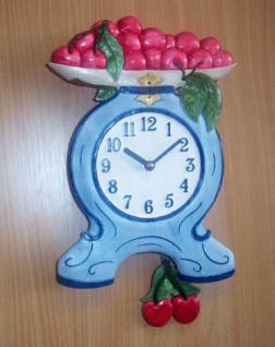 Pendeluhr Waage mit Kirschen, blau