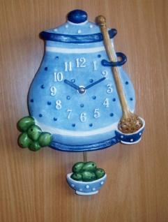 Pendeluhr Oliventopf, blau - Vorschau