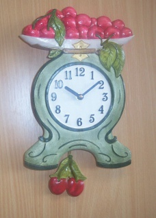 Pendeluhr Waage mit Kirschen, grün