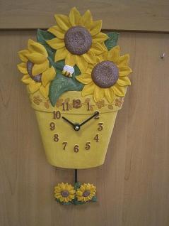 Pendeluhr Topf mit Sonnenblumen
