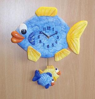 Pendeluhr Fisch mit 2 kleinen Fischen - Vorschau