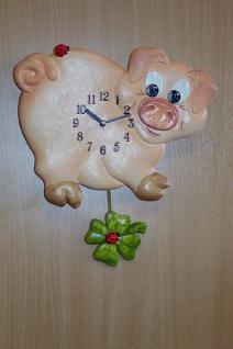 Pendeluhr Schwein mit Kleeblatt