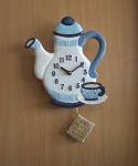 Pendeluhr Kaffeekanne, blau