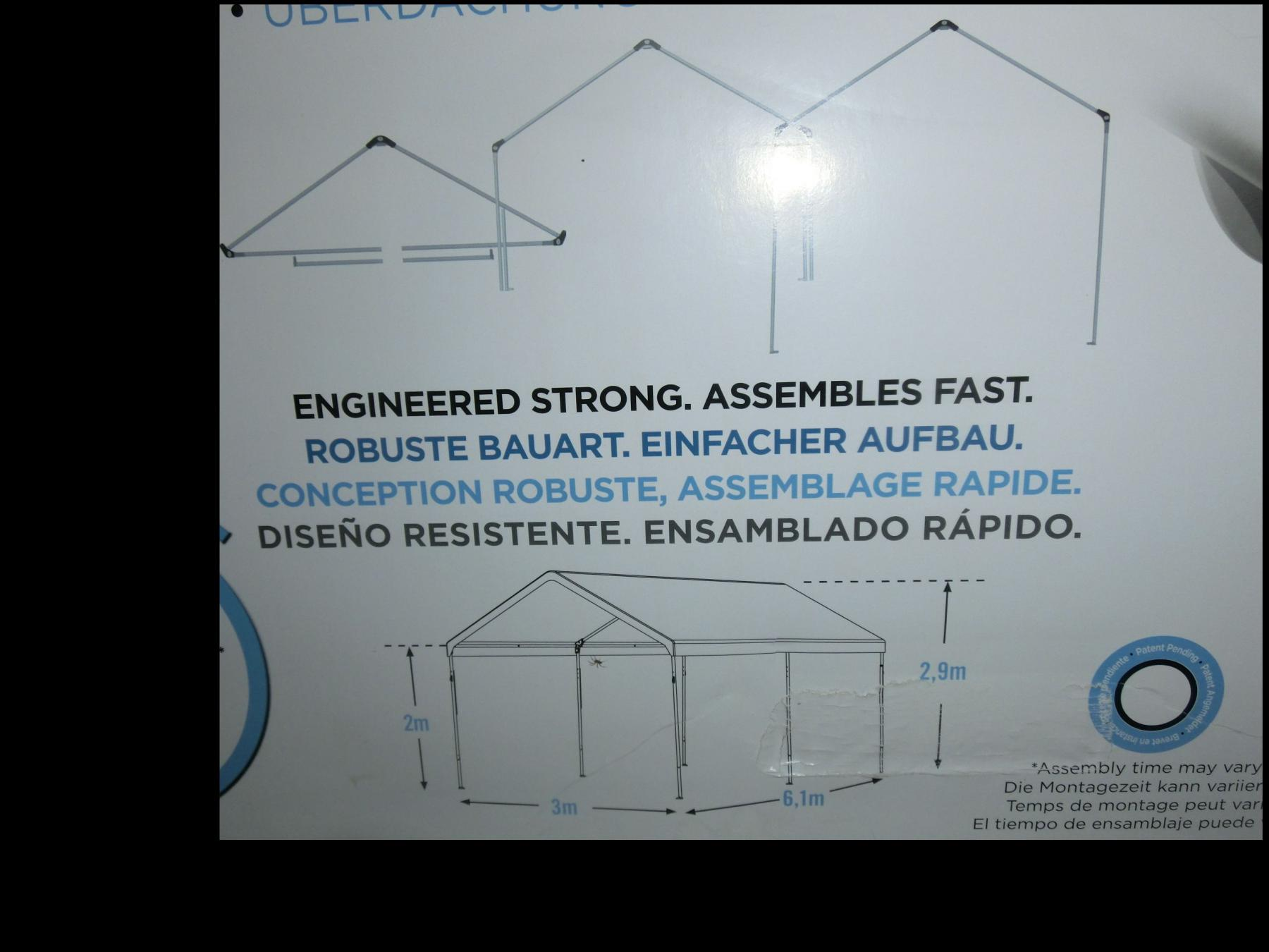 XL Profi Faltpavillon Marktstand 6m x 3m x 2,9m weiss wasserdicht Seitenteile