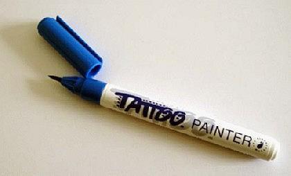 Tattoo-Stift fürs Bodypainting, blau - Vorschau