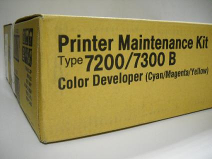 Original Ricoh Color Developer-Units, bestehend aus: Cyan, Magenta, Yellow, Printer Maintenance Kit, PMK7300B0, Typ 7200 / 7300 B , Nr. 402306 für Ricoh CL 7200, 7300, Nashuatec, Gestetner, Rex Rotary C 7528n, 7535n
