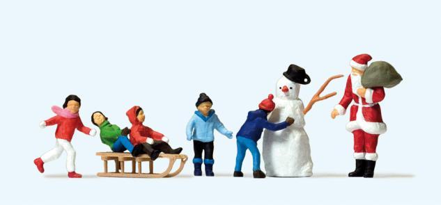 Preiser 10626 Weihnachtsmann, Kinder, Schneemann