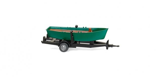 Wiking 009401 Motorboot auf Anhänger