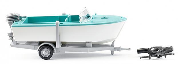 Wiking 009502 Motorboot auf Anhänger