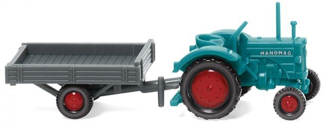 Wiking 095304 Traktor Hanomag mit Anhänger
