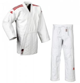 Judoanzug adidas Champion II IJF weiß mit roten Schulterstreifen