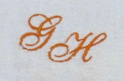 Seiftuch 30x30 cm New York weiß mit Intitialienbestickung orange 0904