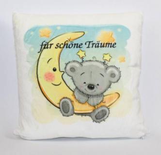 flauschiges Kuschel Kissen Motiv Mond Sterne und Bär, 40 x 40 cm