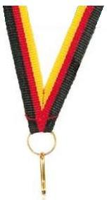 Medaillen Band schwarz/rot/gold, schmal 10 mm