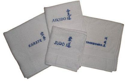 Duschtuch aus Frottee mit Bestickung Karate weiß - Vorschau 1