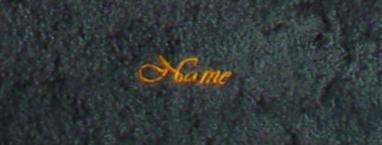 Saunatuch Supreme 100x200 cm schiefer 600 g/m2 mit Namensbestickung orange 0904