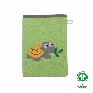 Frottee Waschlappen grün mit Stickerei Schildkröte