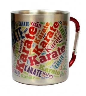 Edelstahltasse mit Motiv Text Karate