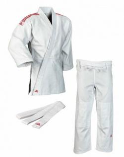 Judoanzug Adidas Club J350 weiß mit roten Schulterstreifen