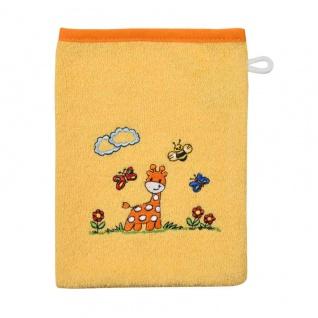 Waschlappen/Waschhandschuh gelb mit Giraffe 15x21 cm