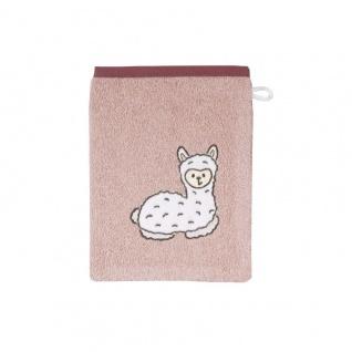 Waschlappen/Waschhandschuh rosa Lama 15x21 cm