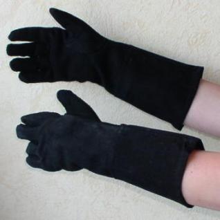 schwarze Wildlederhandschuhe für Damen - Vorschau 1