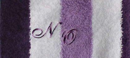 Duschtuch 70x140 cm New York weiß/lila/flieder mit Initialienbestickung lilamulticolor S2124 - Vorschau 1