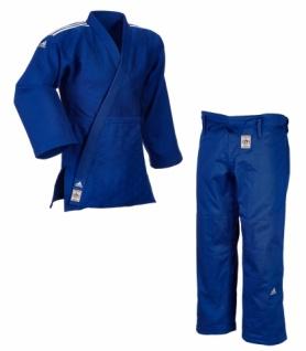 Judoanzug adidas Champion II IJFS Slimfit blau mit weißen Schulterstreifen