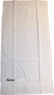 Badetuch 100x150 cm New York weiß mit Intitialienbestickung lila 2715 - Vorschau 2