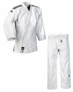 Judoanzug adidas Champion II IJFS Slimfit weiß mit schwarzen Schulterstreifen